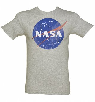 Men's Grey Marl Classic NASA Logo T-Shirt