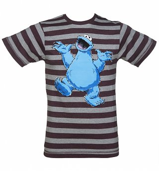 Men's Sesame Street Cookie Monster Striped T-Shirt