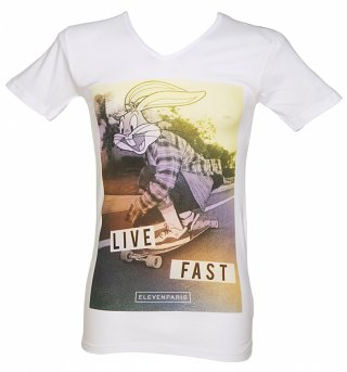 Men's White Bugs Bunny Live Fast Skating Looney Tunes T-Shirt from Eleven Paris
