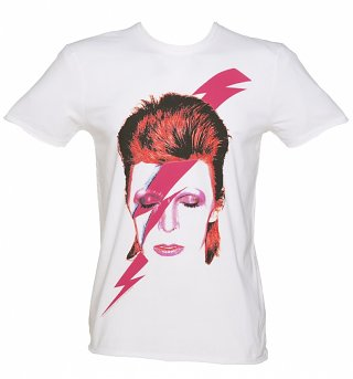 Men's White David Bowie Aladdin Sane T-Shirt from Amplified