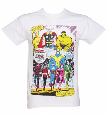 Men's White Marvel Avengers Vintage Comic Print T-Shirt