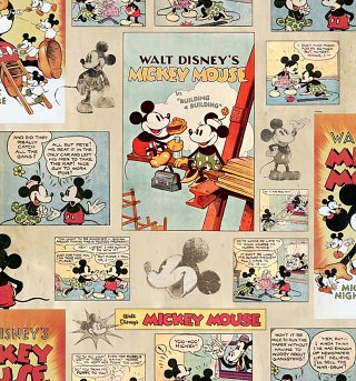 Mickey Mouse Vintage Wallpaper 52cm x 10m from Graham & Brown