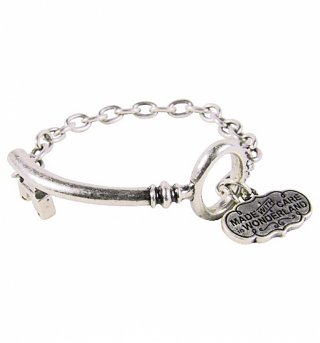 White Gold Plated Alice In Wonderland Key And Heart Charm Bracelet from Disney Couture