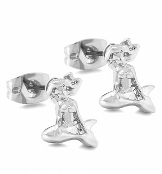 Platinum Plated Ariel Little Mermaid Stud Earrings from Disney Couture