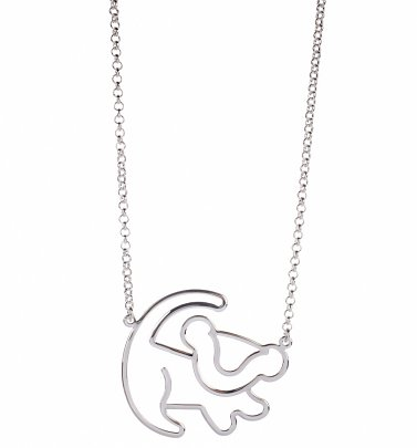 Platinum Plated Simba Outline Lion King Necklace from Disney Couture