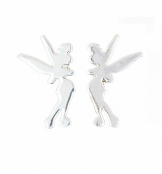 Platinum Plated Tinker Bell Silhouette Stud Earrings from Disney Couture