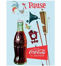 Retro Blue Coca-Cola Pause Canvas Print 30cm x 40cm