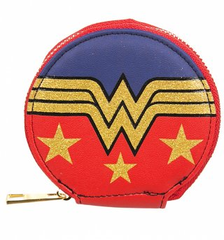 Retro DC Comics Wonder Woman Logo Glitter Print Round Coin Purse