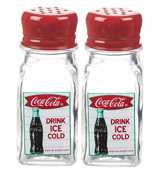 Retro Glass Drink Coca-Cola Salt And Pepper Shakers