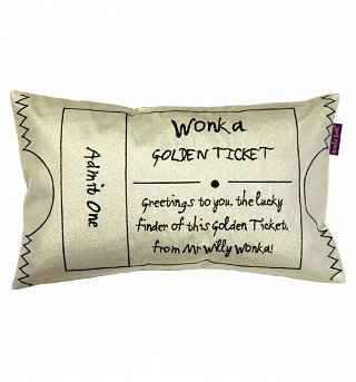 Roald Dahl Charlie And The Chocolate Factory Wonka Golden Ticket Filled Cushion