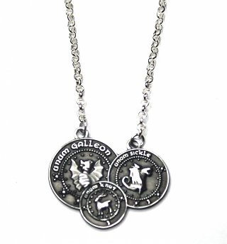 Silver Plated Harry Potter Gringotts Coin Necklace