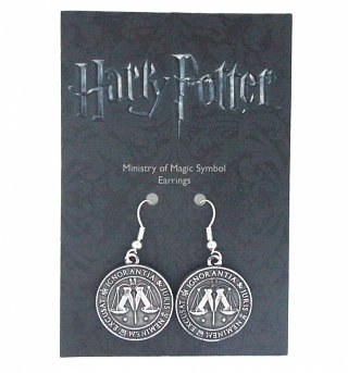 Silver Plated Harry Potter Ministry Of Magic Drop Earrings