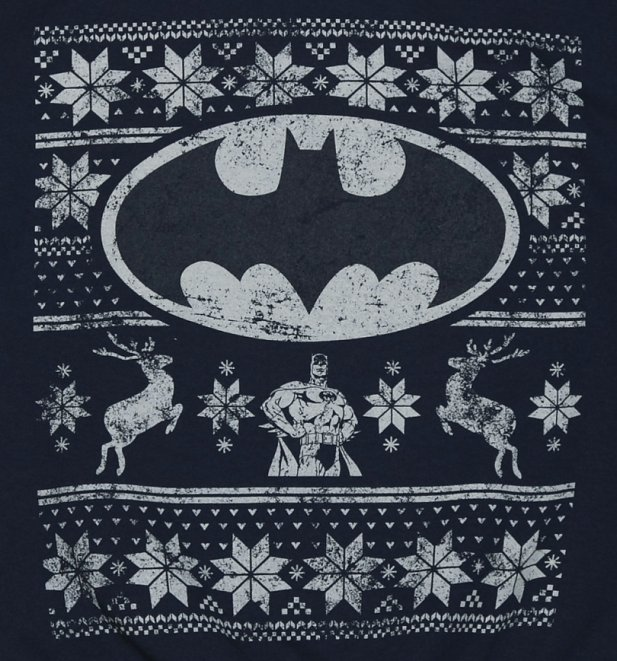 Unisex Navy DC Comics Batman Fair Isle Christmas Sweater