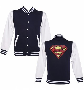 Distressed Superman Logo Varsity Jacket