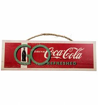 Vintage Distressed Coca-Cola Go Refreshed Wooden Wall Sign