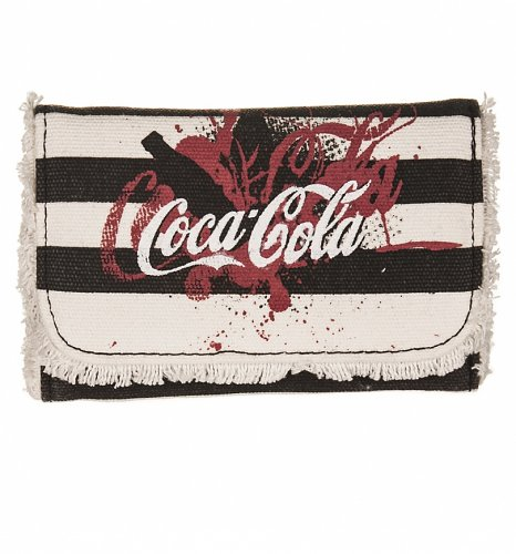 Vintage Distressed Black And White Coca-Cola Canvas Wallet