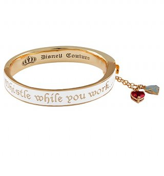 Gold Plated White Enamel Whistle While You Work Snow White Bangle from Disney Couture