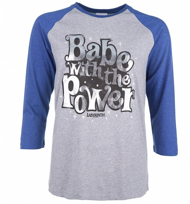 Women's Labyrinth Babe With The Power Heather Grey And Indigo Raglan Baseball T-Shirt