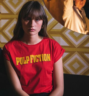 Women's Red Pulp Fiction Logo Organic Cotton T-Shirt from Dedicated
