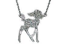 Silver Plated Pave Crystal Bambi Necklace from Disney Couture